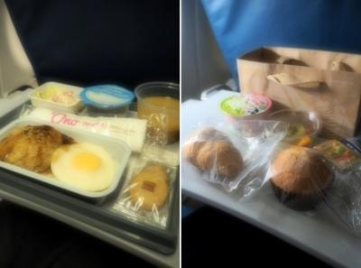 さすがにお腹一杯で食べられなかった夜の機内食はロコモコ。  朝はクロワッサン、マフィン、ヨーグルトとフルーツが小さな可愛いバッグに入って。 この朝食はよかった!