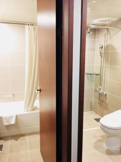 シャワーは二つ、バスタブあり