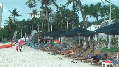占有されているビーチチェア