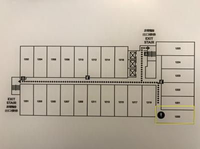 ビーチタワーのお部屋の配置図。私たちはコーナールーム1220