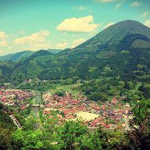 城跡からの景色。赤い屋根の津和野町を一望できる。