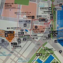 シンボルタワーの位置がわかる案内地図