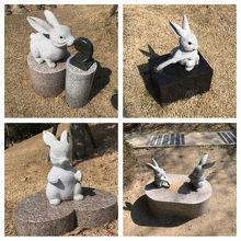 敷地内にはたくさんのウサギさんがいます♪