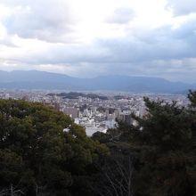 下の町の風景を木の背景で