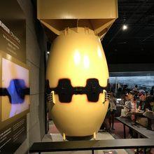 長崎に投下された原爆『ファットマン』の模型。