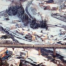 五大堂からの仙山線列車。