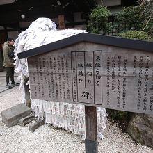 願いが書かれたお札がたくさん貼られている石です