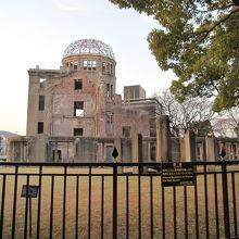 違う角度からの原爆ドームの景観