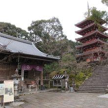 高知の名刹の一つで、五重塔の朱色が鮮やかでした。