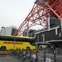 東京タワーには、黄色いはとバスが良く似合う