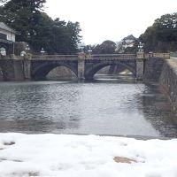 残雪の皇居二重橋で57年前と11年前を思い出す