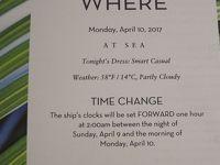 2前泊Fort Lauderdale+24 泊Konigsdam , ★20★Monday, April 10At Sea