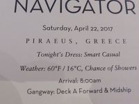 29  泊Konigsdam , ★6★Saturday, April 22Athens (Piraeus), Greece