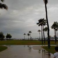 雨の日のパールハーバーからのアラモアナショッピングセンター