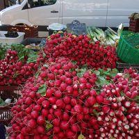 サン・トマ教会前の広場で朝市が出ていました。色鮮やかな農産物がとてもきれいでした。
