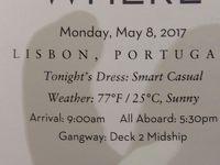 29  泊Konigsdam , ★19★Monday, May 8  2017Lisbon, Portugal