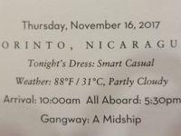 16 泊 Westerdam、★4★Thursday, November 16 、2017Corinto, Nicaragua