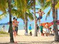 【ポルトセグーロベイ/バイーア州/ブラジル】  ここは、ポルトセグーロ空港から10-12km離れたMuta beach(ムタ海岸)。最近は、こういう遊び(スポーツ)が流行っているんですね....すげぇ〜、一本のゴム紐に...