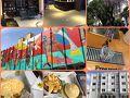 【クリチバの街探索】  左上:メルキュール・バテウ・クリチバホテル 左下:クリチバ出身のハンバーガー屋:マデイロ、ついでにマデイロの社員寮も発見
