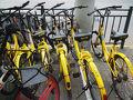 有料で使用できる自転車がありました。 このカゴ、サイズも仕様も意味なさそうなのだが。  大きいサイズにすると盗まれるからかなぁ。