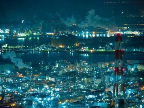 瀬戸大橋と水島工場夜景