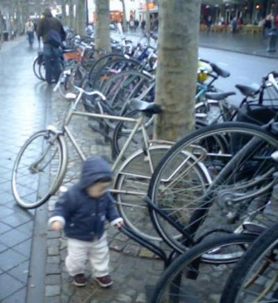 自転車とマーストリヒトの街並み