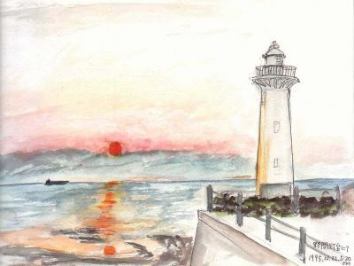 野間灯台の落日