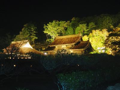 ライトアップされた岡山県備前市の閑谷(しずたに)学校