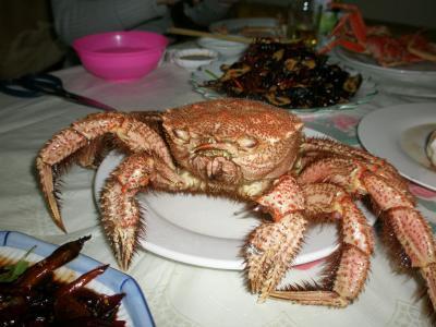 延吉 北朝鮮産毛蟹を食べる