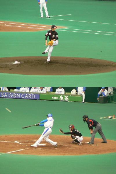 背番号「1」ルーキー大嶺のデビュー戦を見たくてグッドウィルドームへ(2007春のプロ野球観戦のはしご?)
