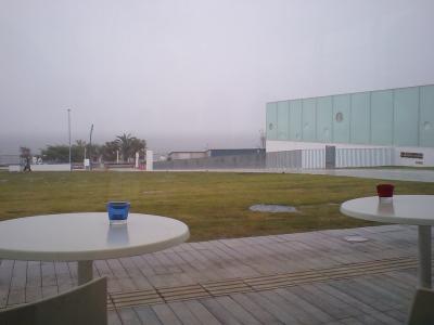 雨に煙る横須賀美術館