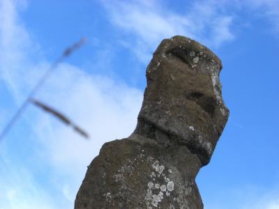 イースター島 空と雲とモアイと馬