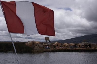 小雨降るティティカカ湖