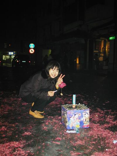 2005早春、中国旅行記6(5):2月8日(4)上海・大晦日、花火と爆竹