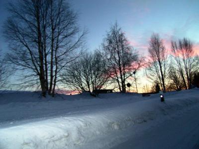 2006年2月旅行7 Rovaniemiの夕焼け