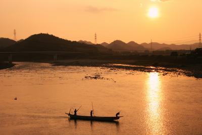 長良川・小瀬(おぜ)の夕日