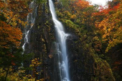 奇妙滝と紅葉 奇妙滝とは滝が奇妙なのではなく、奇妙山から流れ落ちるから /長野県須坂市 米子大瀑布より