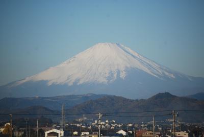 新幹線から美しい富士山を眺める