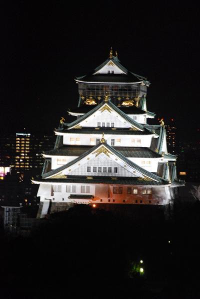 ホテルの部屋から見られる大阪城及び周辺ビルの夜景