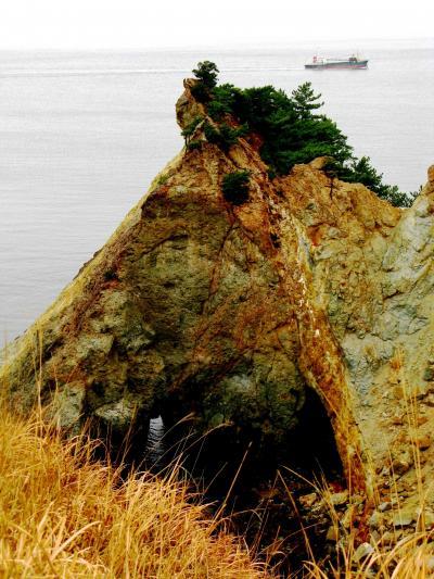 黄金崎と堂ヶ島天窓洞の風光美 ☆プロピライトの岩肌濡れて