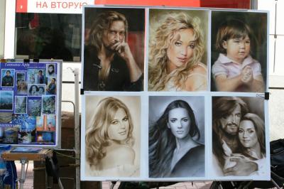2009夏、ロシア旅行記(6)6月6日(4)モスクワ・アルバート通り・モスクワの銀座、似顔絵、風景画