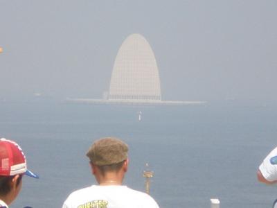 富津岬とログハウス<東京アクアラインと海ほたる>