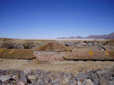 ウユニ塩湖とコイパサ塩湖の中間にある町、サリナス デ ガルシ メンドサ町のスカラニ ホテル周辺
