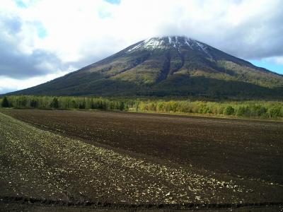 雪と紅葉の羊蹄山