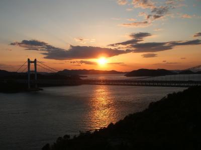 <日本の夕陽百選の鷲羽山&瀬戸大橋>