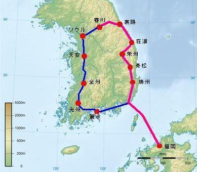 1991年 韓国一周 自転車旅行 【前編:福岡~春川】