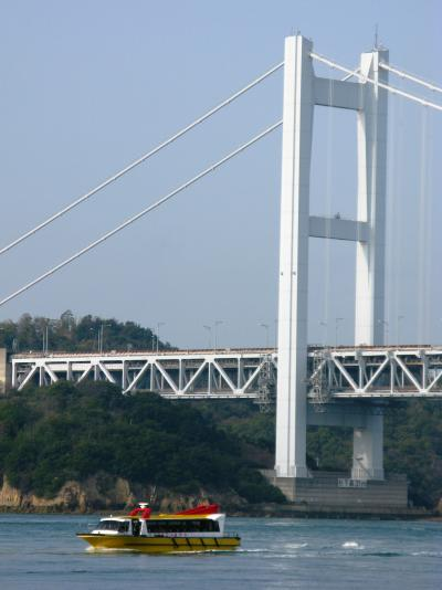 瀬戸大橋-1 笑う観光船=はつひ丸=に乗船 ☆橋下を潜り抜け