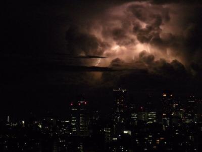 新宿の空に、無数の稲光。寝ることも忘れて見とれてしまった。