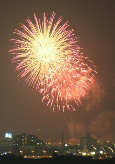 遠くから岸和田港まつり花火見物
