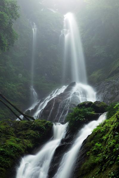 霧に霞む 雨乞の滝 「日本の滝百選」 / 徳島県